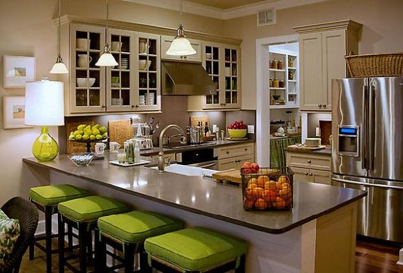 modern kitchen-design-decoration-green chairs