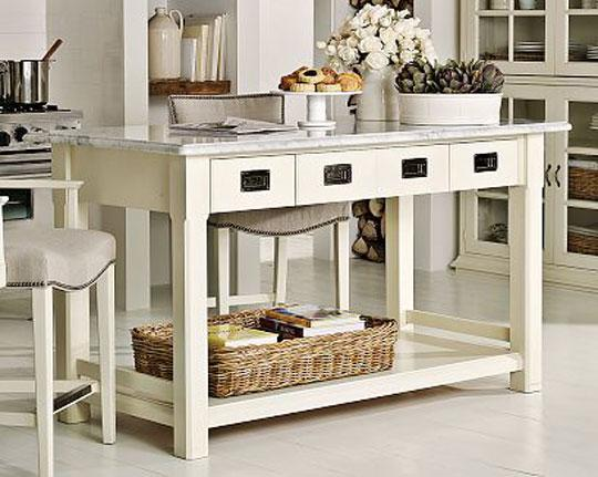 Movable Kitchen Island From Wood White Granite Countertop