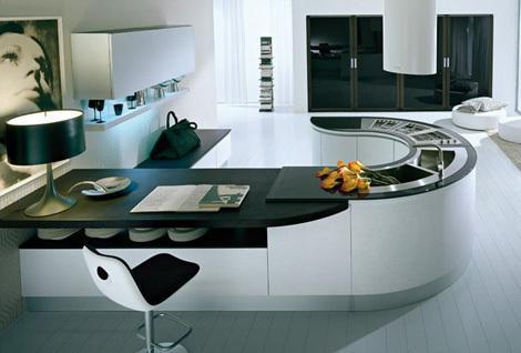 contemporary kitchen-round black kitchen island