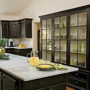 cabinet remodeling in the kitchen -wood and glass