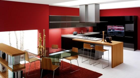 modern kitchen in red with wooden island and cabinets
