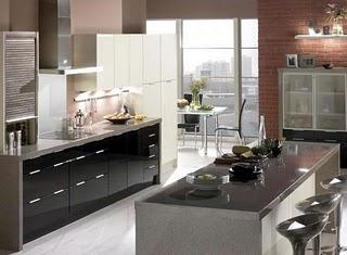 modern kitchen with island and lots of storage space