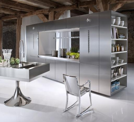 contemporary looking kitchen-stainless steel