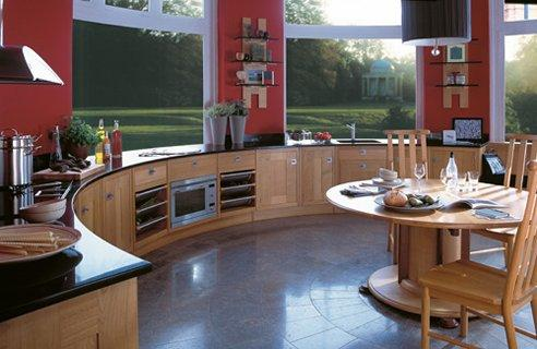 contemporary kitchen-granite coutertops-red walls