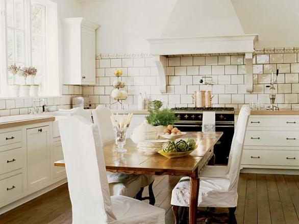 french country kitchen-white cabinets-white tiles