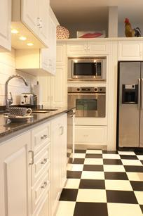 kitchen floor of black and white tiles