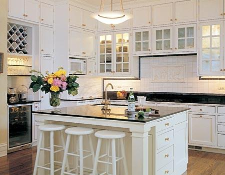 modern white kitchen-granite work surface
