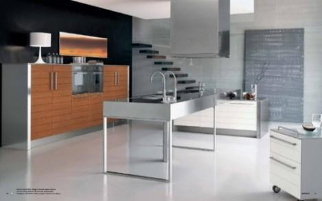contemporary kitchen design with wooden cabinets and stainless steel island