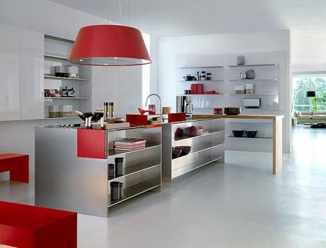 minimalist kitchen design -red accents and stainless steel