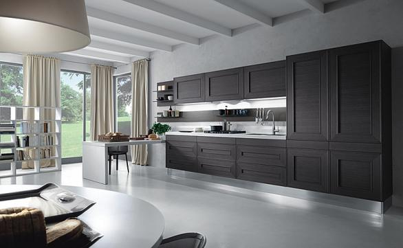 modern kitchen with wooden black cabinets