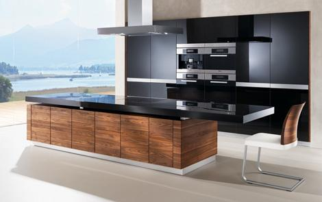contemporary kitchen design in black and wood