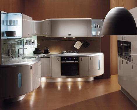luxury curved kitchen-brown cabinets-oven-decoration