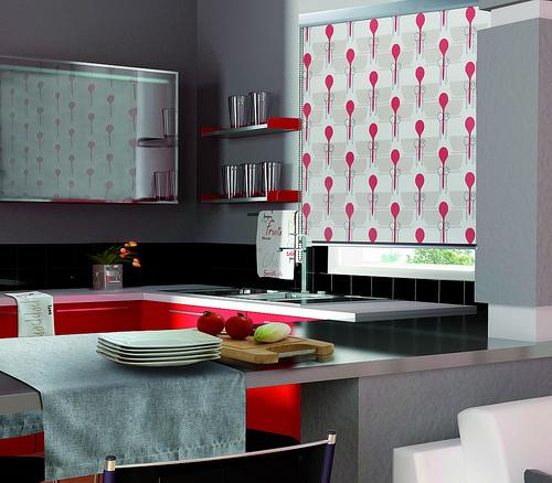 modern kitchen stores design in red