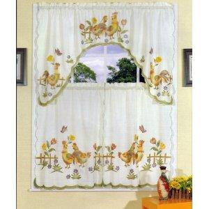 Küche Vorhang Design mit Hahnen-Dekoration