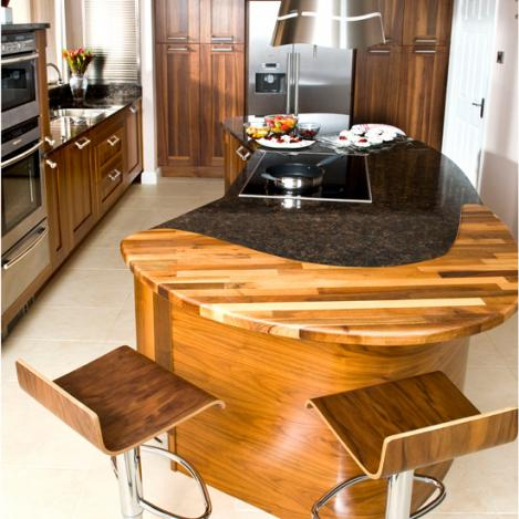 curvesd wooden kitchen islamd modern design