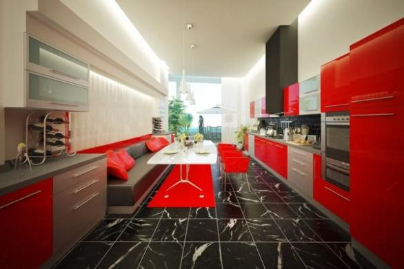 modern kitchen in red black and white-red chairs-white table