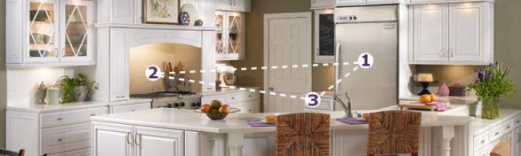 Organisation der Küche arbeiten Dreieck-Backofen-Kühlschrank-Spüle