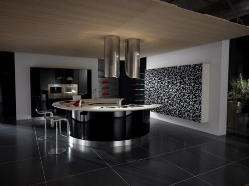 modern kitchen design in black and white-curved kitchen island