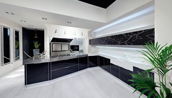 moder kitchen cabinets in black -design and decoration