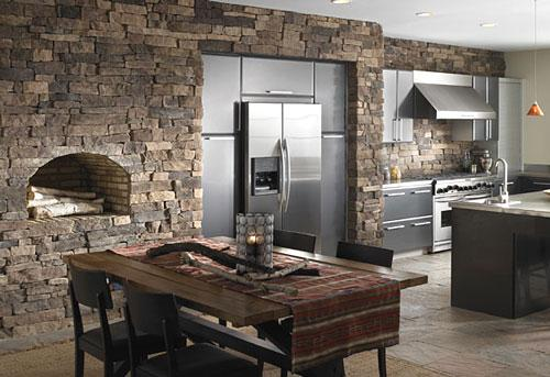 modern kitchen design with stone tiles