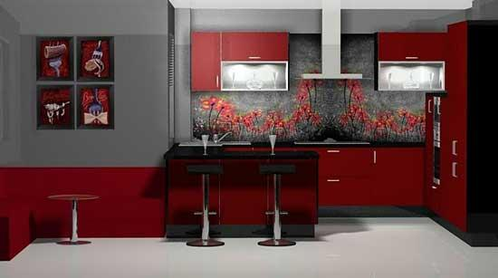 red contemporary kitchen design-wall flowers