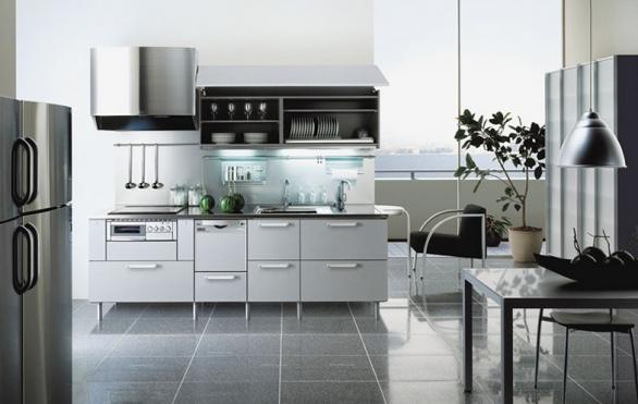 modern kitchen cabinets-stainless steel