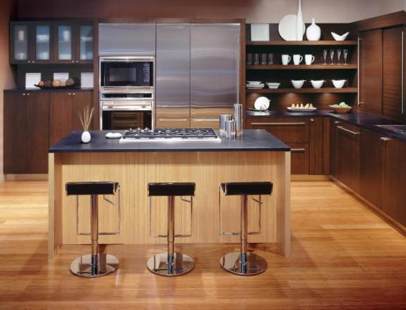 modern kitchen-wooden floor and island
