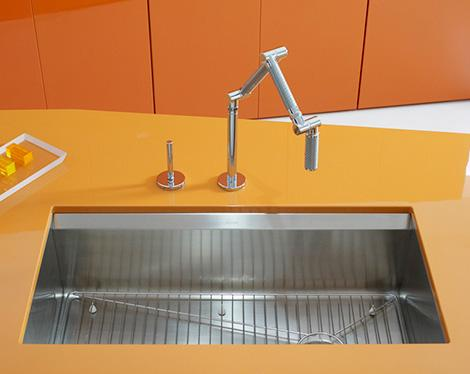 modern orange kitchen sink design