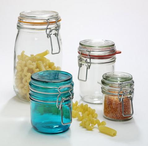 glass storage jars-different size and colour