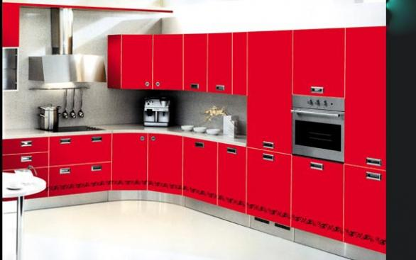 red modern kitchen cabinets