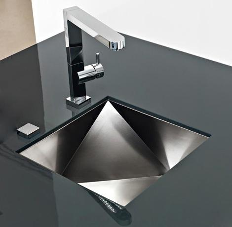 contemporary kitchen sink design-black countertop