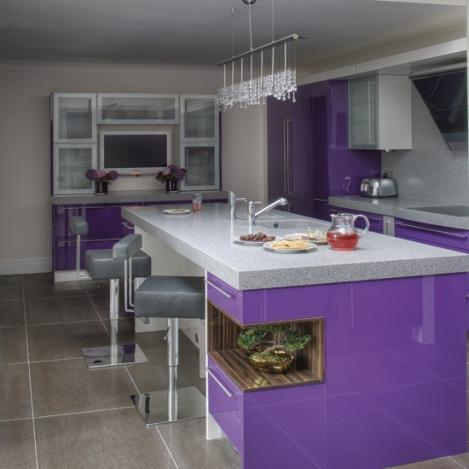 colorful modern kitchen in purple-luxury kitchen island