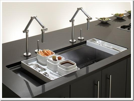 contemporary kitchen sink-design-metal-black