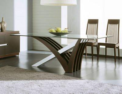 modern and luxury  kitchen table with glass top