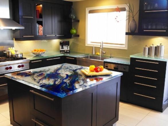 Luxus und modernen Glas-Design Küche