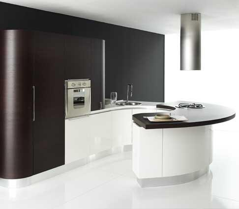 modern curved kitchen design in black and white
