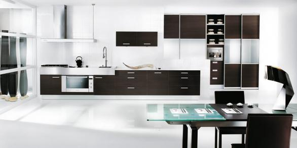 modern kitchen design in white and dark
