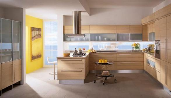 contemporary kitchen-wooden cabinets-yellow wall