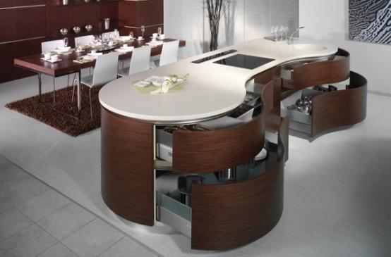 modern kitchen-interesting curve kitchen island design
