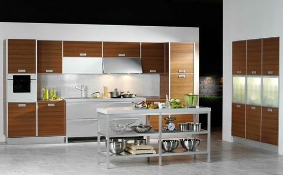 contemporery kitchen design-modern stainless steel island