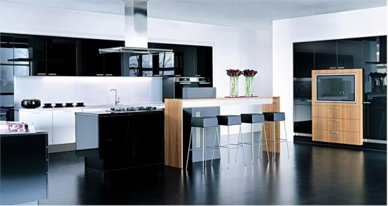 modern kitchen design in black and white-dark floor