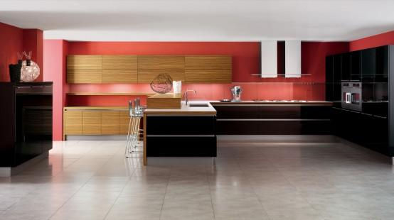 open space kitchen design in red and brown-wood