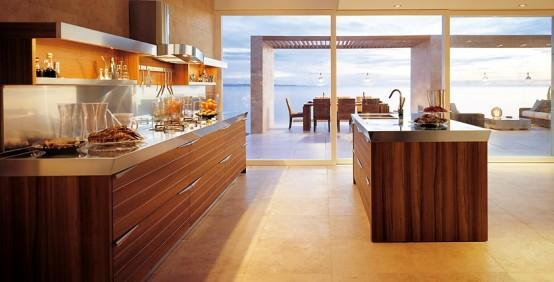 luxury modern kitchen design-big windows-wooden cabinets