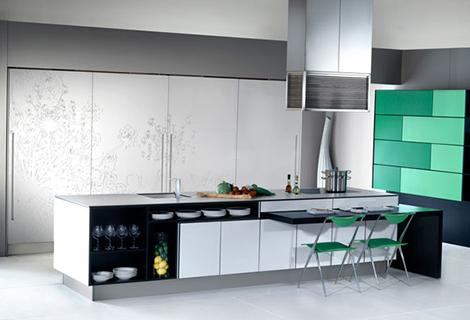 modern kitchen-green cabinet