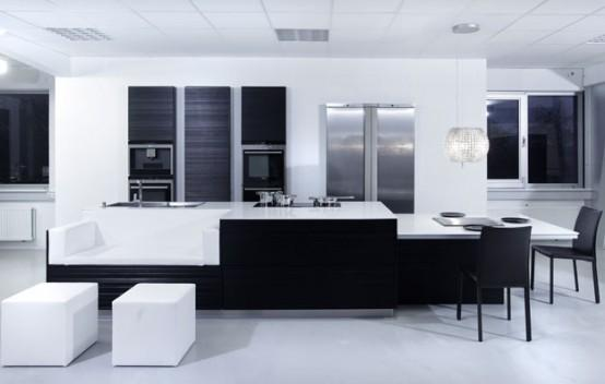 modern kitchen-black and white-decoration
