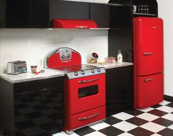 modern kitchen in black and red-colorful appliances