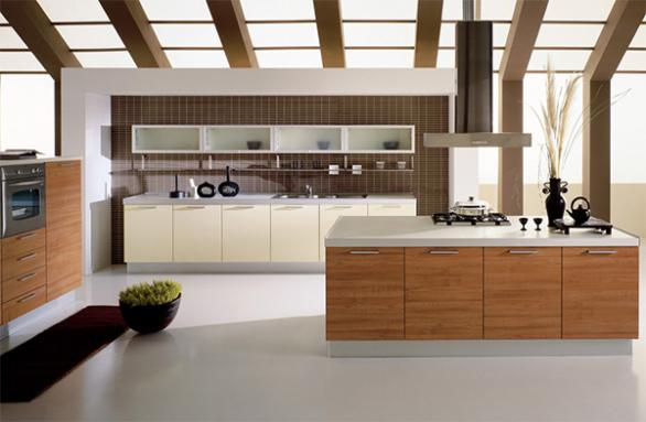 modern kitchen design-kitchen island-wood cabinets