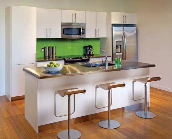 modern style kitchen-wooden floor-green tiles