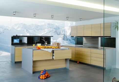 contemporary kithen clean line wooden cabinets