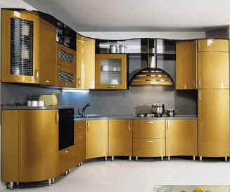 contemporary kitchen in modern style yellow cabinets